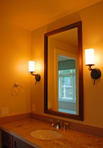 Bathroom vanity lighting glare.