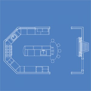 It is easiest to plan your kitchen lighting layout using a floor plan.