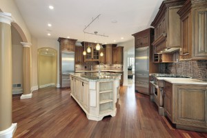 Track lighting over a kitchen island